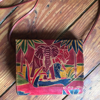 vintage genuine tooled leather elephant crossbody purse, structured, carved, red, safari