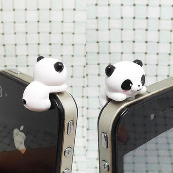 20%OFF Adorable White Black Hanging Panda Dust Plug 3.5mm Phone Accessory Charm Headphone Jack Earphone Cap iPhone 4 4S iPad HTC Samsung
