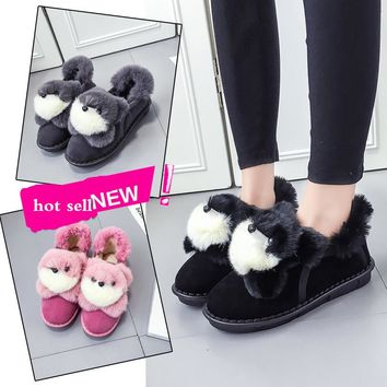 women room snow boots fashion shoes for winter lovely fox animal prints warm plush pink black gray hot sell free shipping