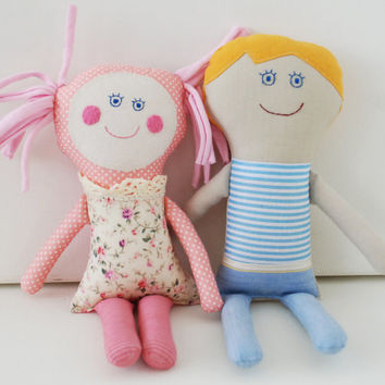 Gift for Brother and Sister, Family Dolls, Toddler Gift, Stuffed First Dolls, Gift for Newborn, Twins dolls, Baby Shower Gift, Handmade doll