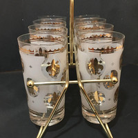 Gold Fleur De Lis Tumblers, Set of 8 Federal Drinking Glasses with Carrier, Gold Tumblers, Mid Century Glasses