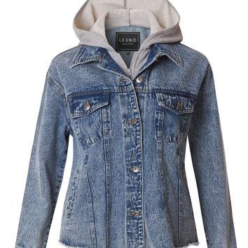 LE3NO Womens Distressed Long Sleeve Boyfriend Denim Jacket with Hoodie (CLEARANCE)