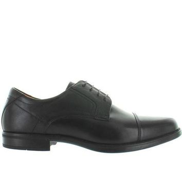 CREYONIG Florsheim Midtown Cap Ox - Black Leather Cap Toe Oxford