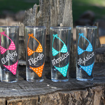 6 Personalized Bikini shot glasses. Great for bachelorette and wedding parties. Custom shot glasses.