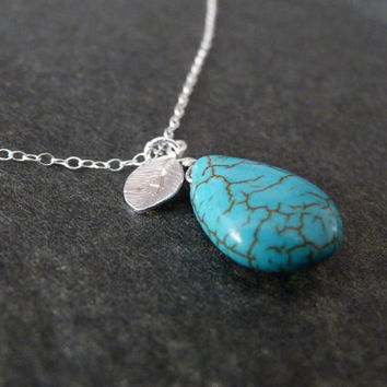 Initial Turquoise Necklace on STERLING SILVER chain, Custom Necklace, Simple Jewelry, Turquoise Jewelry, Everyday Jewelry