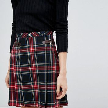 Esprit Tartan Check Pleated Skirt at asos.com