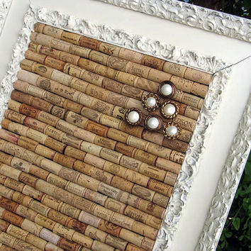 Large Wine Cork Bulletin Board in Antique Frame by 4EyesAndEars