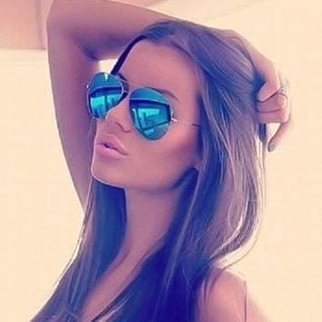 Blue Mirror Silver Aviator Pilot Sunglasses