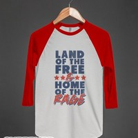 Land of the Fee, Home of the Rage (baseball tee)-White/Red T-Shirt