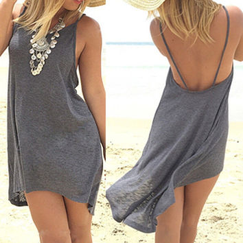 Dresses Sexy Women Lady Clothing Summer Mini Dress Casual Sleeveless Loose Gray Cotton Beach Dresses Summer 2016 Women Clothing
