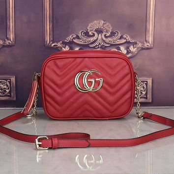 ESBONS Gucci' Simple Casual Fashion Tassel Zip Double G Logo Quilted Metal Chain Single Shoulder Messenger Bag Women Small Square Bag