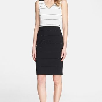 Women's St. John Collection Sequin Stripe Two-Tone Milano Knit Dress,