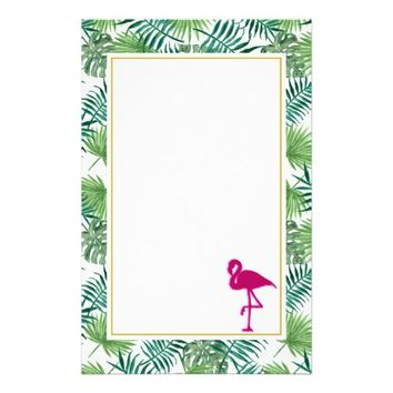Tropical Leaves Pattern and Pink Flamingo Stationery