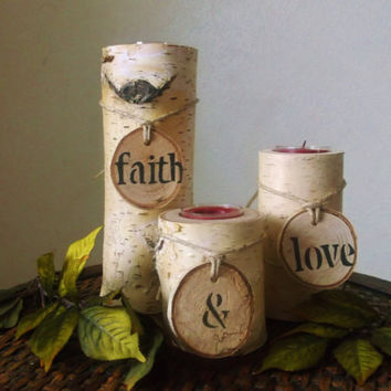 Birch Wood Candle Holder, Rustic Decor, Rustic Wedding Decoration, Home Decor, Valentines Day