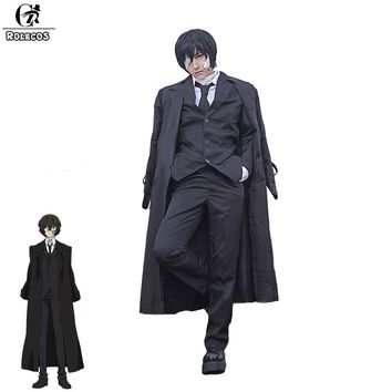 ROLECOS Brand New Anime Bungo Stray Dogs Dazai Osamu Cosplay Costume Black Trench Full Suits Men Cosplay Costumes GC276A