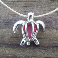 Ruby Red Sea Glass  Turtle Locket Necklace