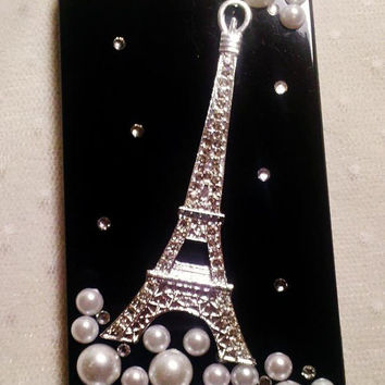 Diy Handmade Lace Pearl Phone Case V. Sparkling French Eiffel Tower (Black) for iPhone 4 4S Galaxy S2 S3 Note Other Phones