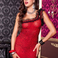 Red Leopard Print Ruffled Strap Chemise