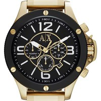 Men's AX Armani Exchange Chronograph Bracelet Watch, 48mm - Gold/ Black