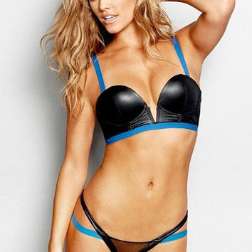 Black and Blue V-Cut with Mesh Cut-Out Bikini