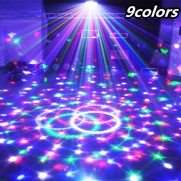 9 Colors 27W Crystal Magic Ball Led Stage Lamp 21 Mode Disco Light