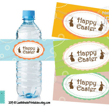 Easter Water Bottle Label sticker printable rabbit bunny pattern egg white prop wine clipart baby boy primitive gift chick favor toy wrap