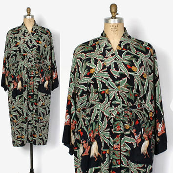 Vintage 90s Hawaiian Dressing Gown / 1990s Natori Novelty Tropical Print Belted Robe
