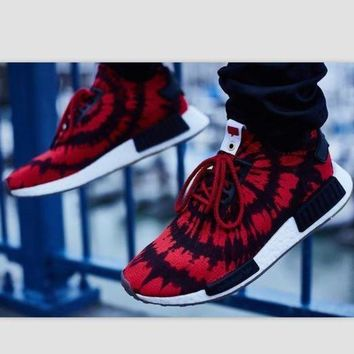 CREYGE2 Beauty Ticks Women Adidas Nmd Boost Casual Sports Shoes Red Black Print