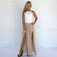 Caught in the Middle Maxi Skirt in Beige