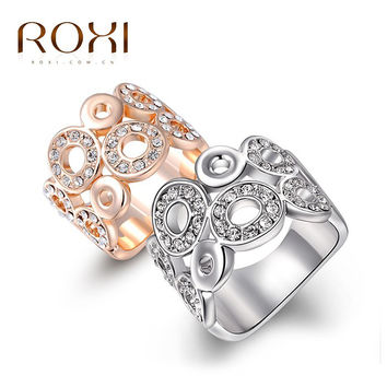 ROXI Classic Luxury Rings For Women Top Quality Genuine SWR crystal Wedding Rings Compatible With Pandora Jewelry