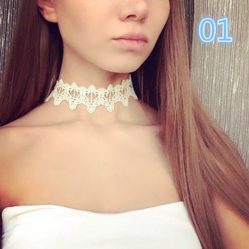 Newest  fashion jewelry accessories white &black Lace Tattoo choker necklace for couple lovers'  -03328