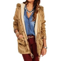 SALE-Taupe Cargo Parka With Removable Fur