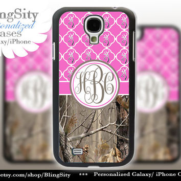 Monogram Galaxy S4 case S5 Real Tree Camo Hot Pink Browning Quatrefoil Personalized RealTree Samsung Galaxy S3 Case Note 2 3 Cover