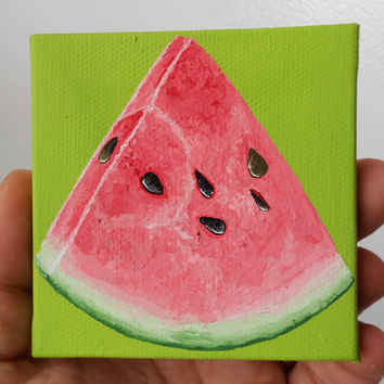 Watermelon Painting, Miniature Painting, Lime Green and Pink Kitchen Art, Kitchen Decor, Canvas Painting, Paintings of Fruit, Original Art