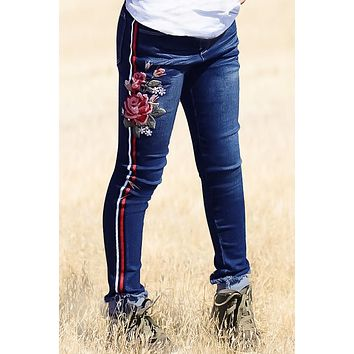 Fall Back To School Super Yummy Wash  Denim w/  Taping & Embroidery Jeans