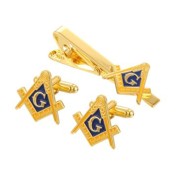Mason Compass Pin, Cufflinks, & Tie Clip Set
