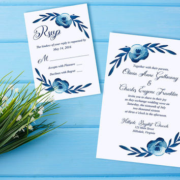 "Watercolor Wedding Invitation RSVP Card - Floral Wedding Invitation Card ""Cotton Blossom"" Blue Wedding Invitation - Watercolour Wedding"
