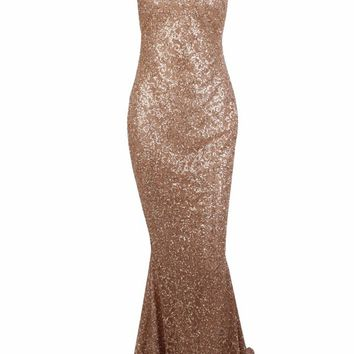 Honey Couture AMELIE Gold & Nude Glitter Mermaid Formal Gown Dress