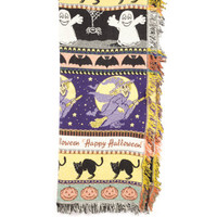 Spooky Halloween Blanket / ghosts / black cat / witch / bats / pumpkins / witches flying on broomsticks / full moon / reversible woven throw