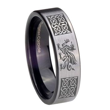 8MM Silver Black Multiple Dragon Celtic Pipe Cut Tungsten Carbide Laser Engraved Ring