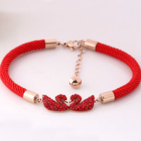 Lucky transfer red rope black swan bracelet red twin swan diamond titanium plated rose gold bracelet women