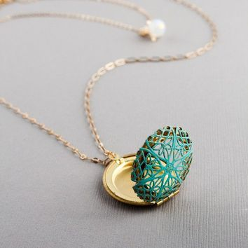 Gold necklace - Antique Double Chain Patina Locket- Birthday gift, Best Friend, Mother, Anniversary gift
