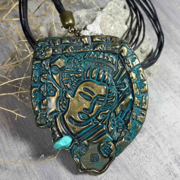 faux bronze and patina polymer clay pendant, ethnic jewelry, handcrafted jewelry,patina jewelry,