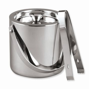 Stainless Steel Quart Ice Bucket with Tongs - Engravable Personalized Gift Item