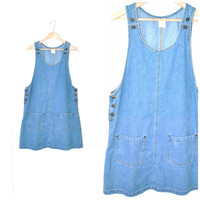 90s DENIM overall dress vintage early 1990s GRUNGE relaxed fit light INDIGO chambray jean romper os large