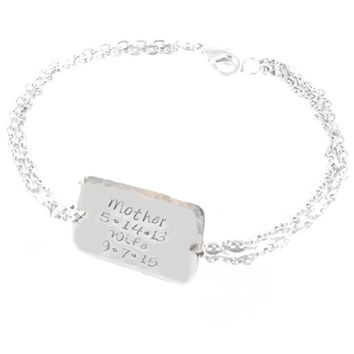 Square or Round Mother Wife Personalized Hand Stamped Bracelet