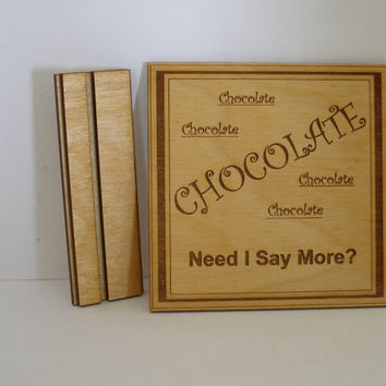 Chocolate lovers wall plaque desk top saying wood engraved