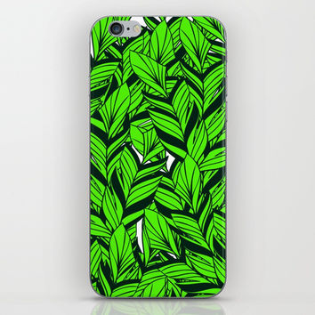 Jungle Banana Leaves Pattern iPhone & iPod Skin by cadinera
