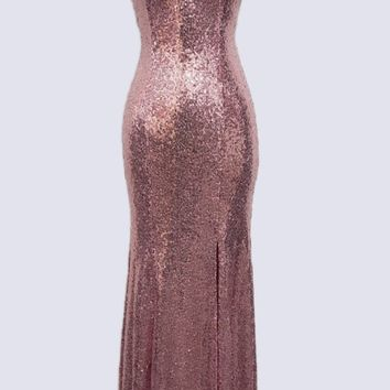 Rose Sequins Long Prom Dress with Slit