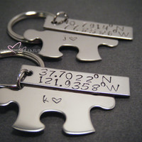Coordinate Keychains, Double Keychain Set, Puzzle piece keychain, Rectangle Keychain, Stamped Keychains, Couples Keychains, COuples Gift
